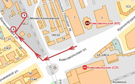 Схема площади трех вокзалов.